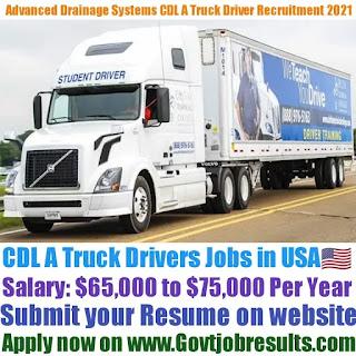 Advanced Drainage Systems Inc CDL A Truck Driver Recruitment 2021-22