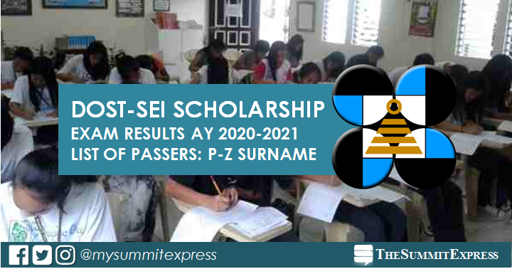 P-Z list of passers: DOST Scholarship Exam Result 2020