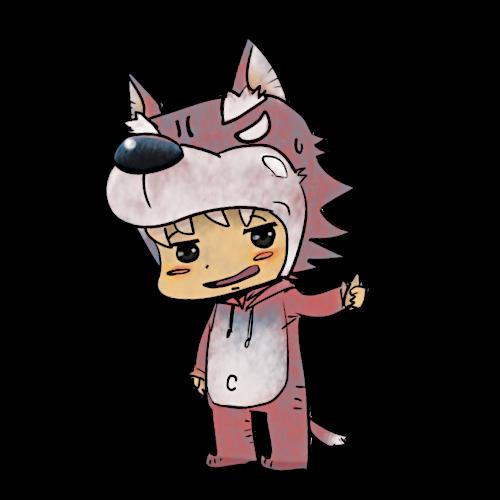 狼の着ぐるみ(輪郭あり)