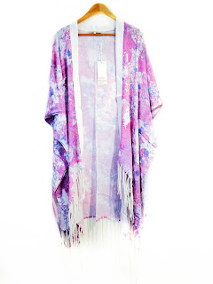 pink and white  tie die kimono from little white lies london