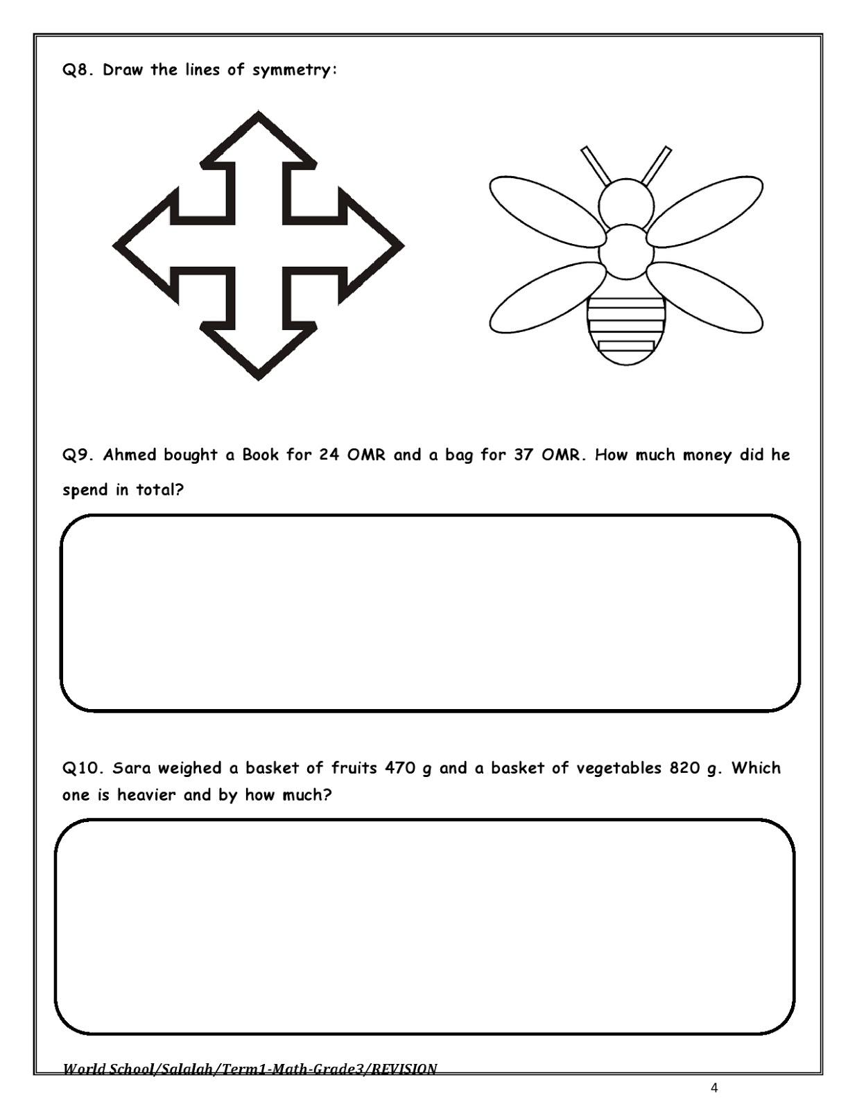 Birla World School Oman Revision Worksheet For Grade 3 22