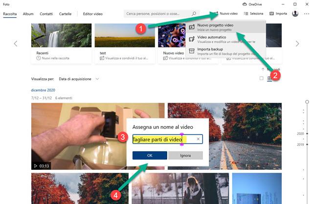 creare nuovi progetti video con foto di windows