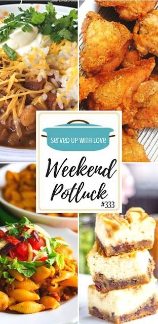 The Best Fried Chicken, Caramel Cheesecake Bars, Instant Pot Cheesy Taco Pasta, Pickle Fried Chicken Tenders, and Slow Cooker Chunky Chicken Chili are all featured recipes at Weekend Potluck over at Served Up With Love.