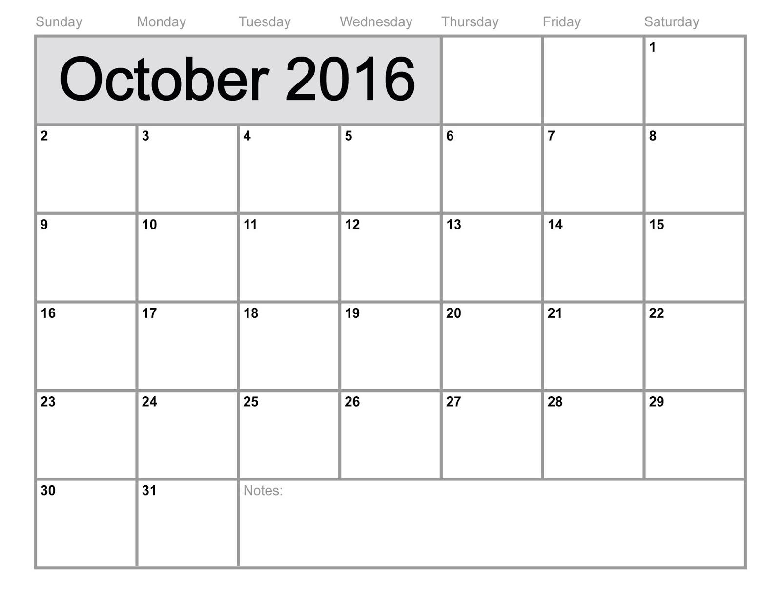 Free Printable Calendar 2016 | Blank Calendar: October 2016 Blank