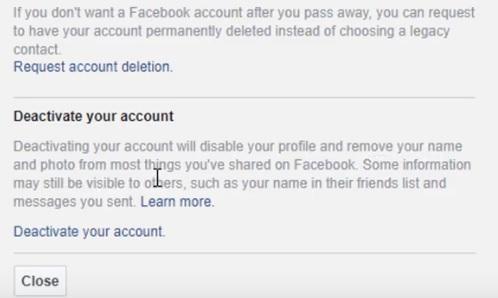 facebook, activate, deactivate