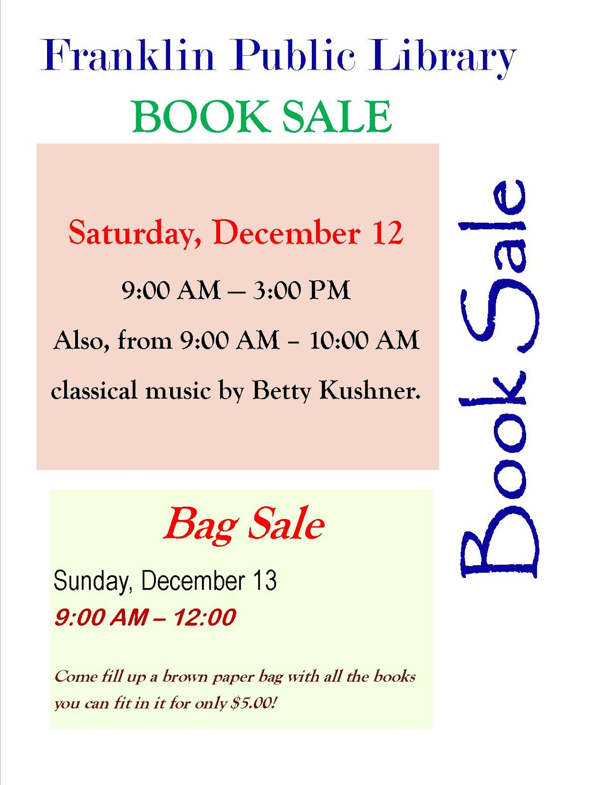 Library book and bag sale 12/12-12/13