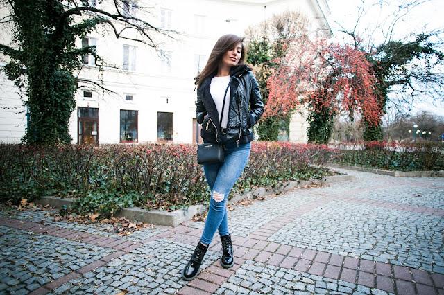 Basic look / Ramoneska z kożuszkiem oraz Timberlandy z połyskiem - Czytaj więcej