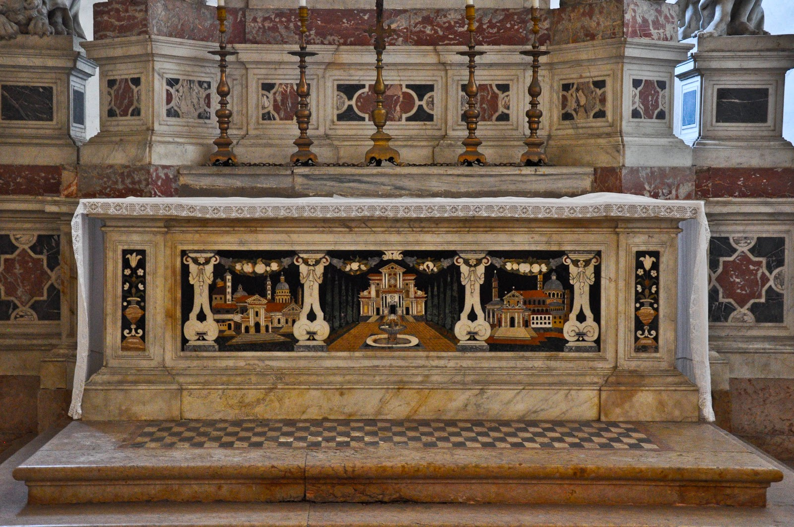 A fine example of 'pietra dura' in the Basilica of Santa Giustiniana in Padua, Italy