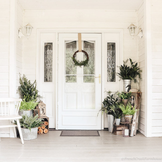 Minimalist Botanical Winter Porch by French Creek Farmhouse featured at Pieced Pastimes