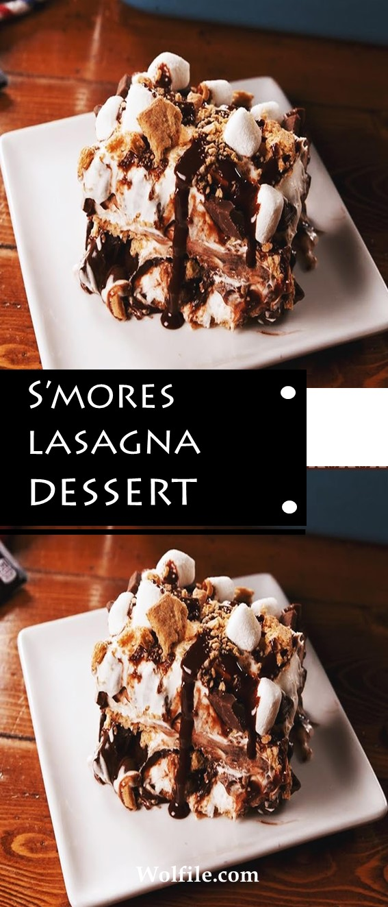 Smores Lasagna Dessert #Smores #Lasagna