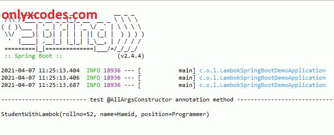 @AllArgsConstructor annotation output
