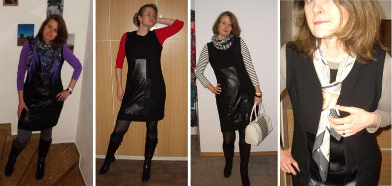 Strickkleid mit Lederpatches