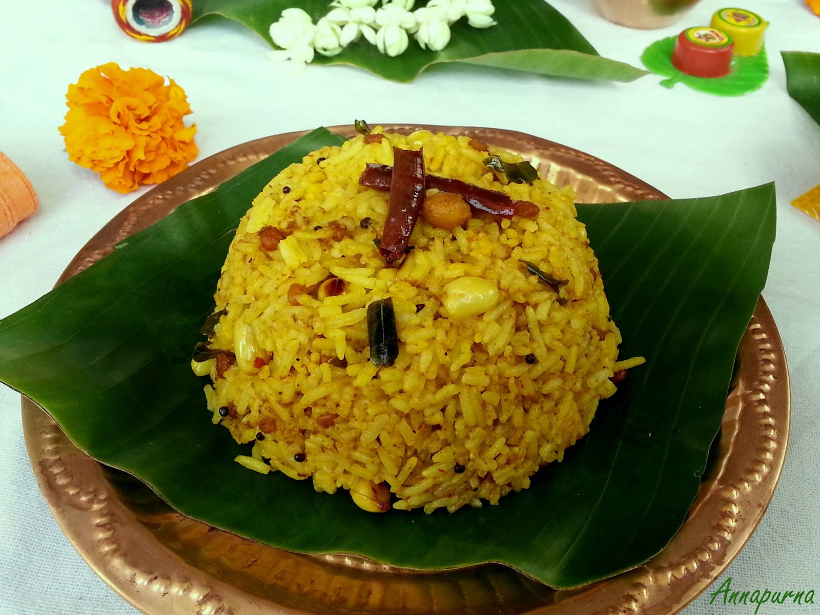 Annapurna puliyodharai pulihora south indian tamarind rice recipe pulihora is a popular travel food known for its long shelf life one can also find this rice served as naivedhyam prasad in most of the south indian forumfinder Images