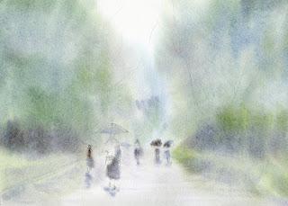 雨の公園 最初のウォッシュ
