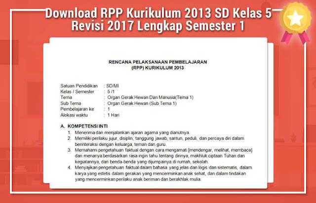 Contoh Berkas RPP Kurikulum 2013 SD Kelas 5 Revisi 2017 Lengkap Semester 1