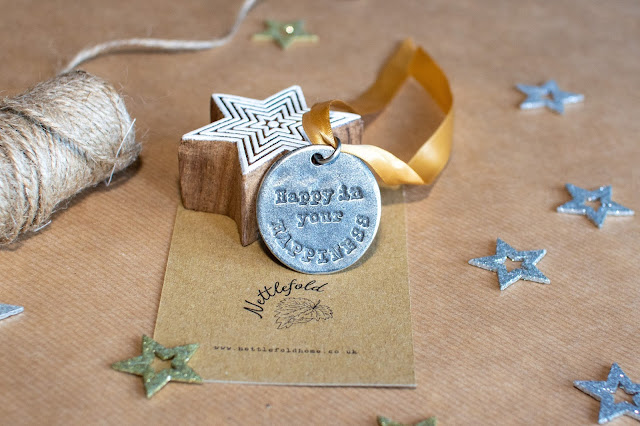 Pewter Keepsake Token from Nettlefold saying happy in your happiness