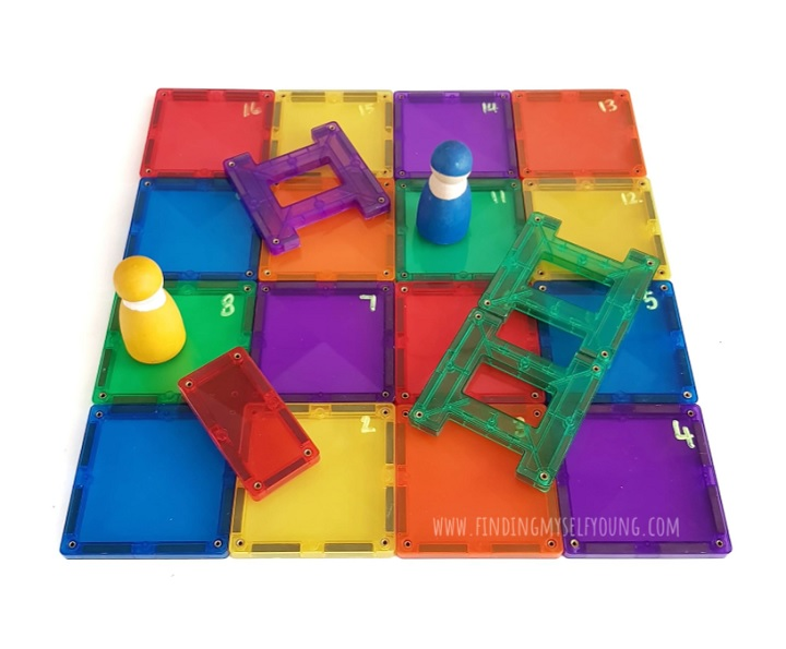 snakes and ladders board game made from magnetic tiles
