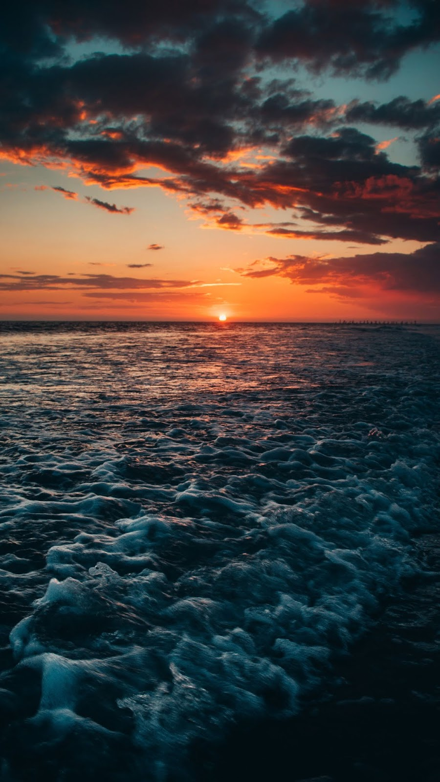 Sunset on the beach android wallpaper