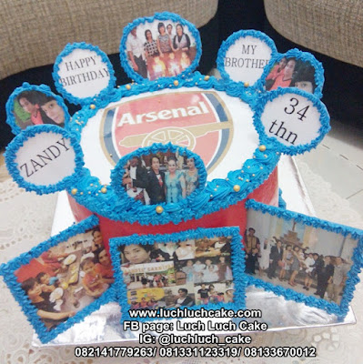 Kue Tart Arsenal Dengan Foto Yang Ulang Tahun