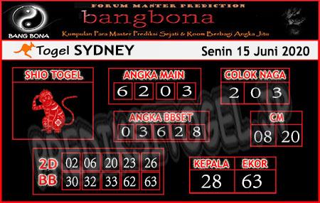 Prediksi Sydney Senin 15 Juni 2020 - Bang Bona