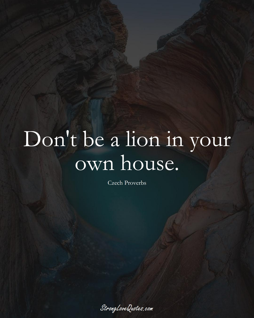 Don't be a lion in your own house. (Czech Sayings);  #EuropeanSayings