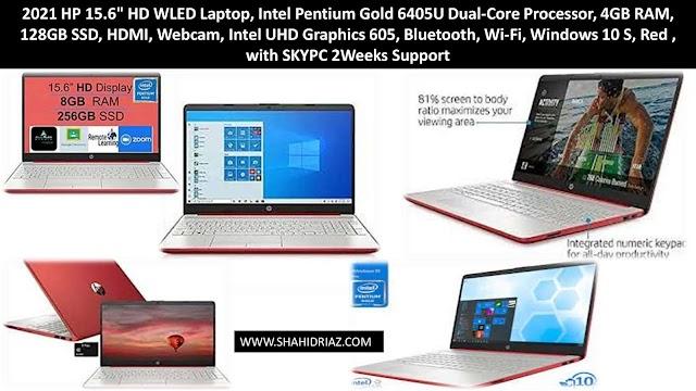 "2021 HP 15.6"" HD WLED Laptop, Intel Pentium Gold 6405U Dual-Core Processor, 4GB RAM, 128GB SSD, HDMI, Webcam, Intel UHD Graphics 605, Bluetooth, Wi-Fi, Windows 10 S, Red , with SKYPC 2Weeks Support"