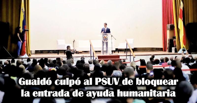Guaidó culpó al PSUV de bloquear la entrada de ayuda humanitaria