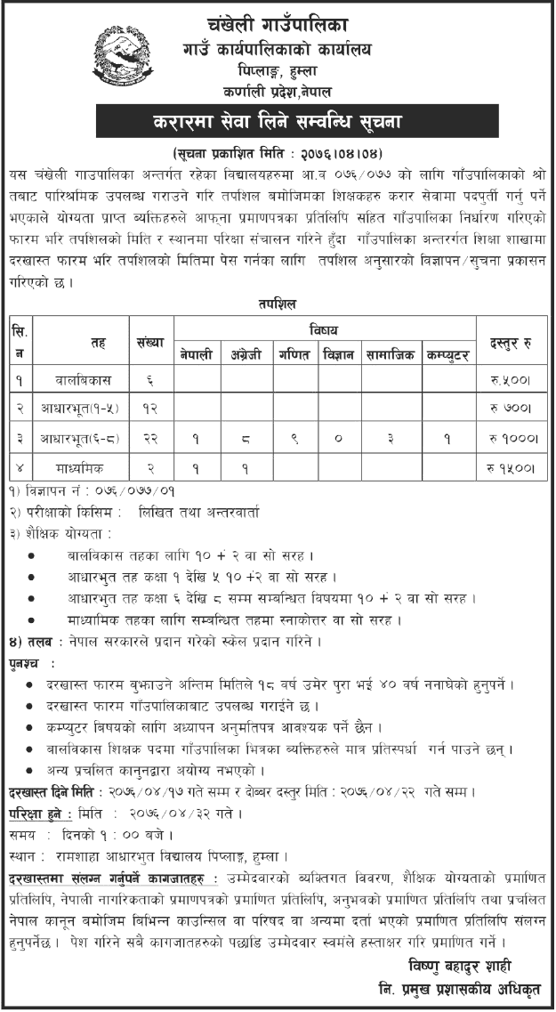 Chankheli Gaupalika Vacancy Notice for Teachers in Various Level