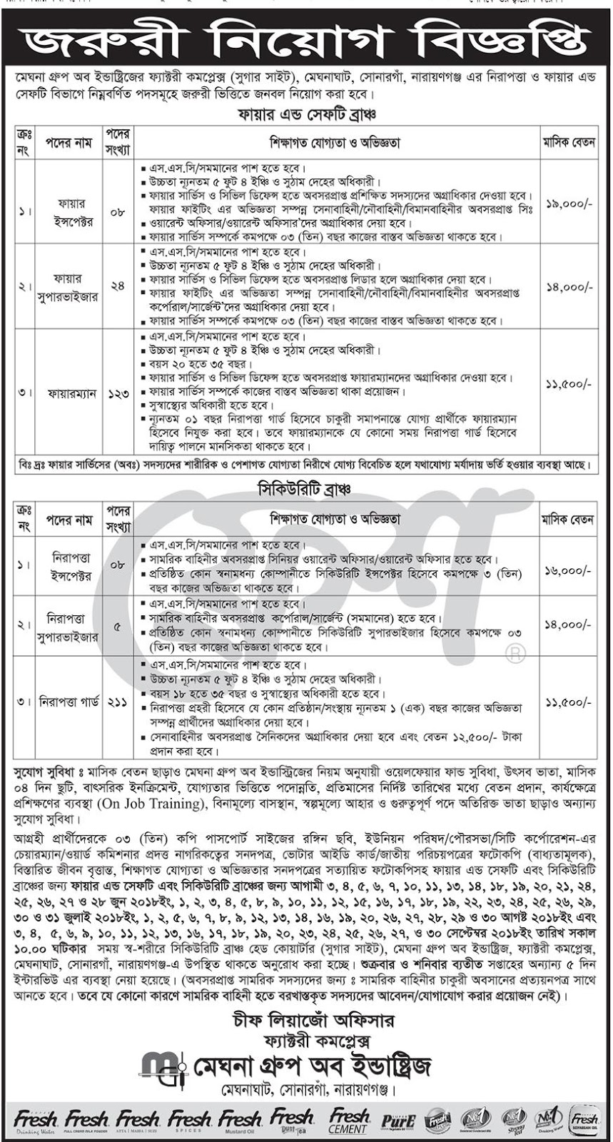 Meghna Group of Industries Job Circular 2018