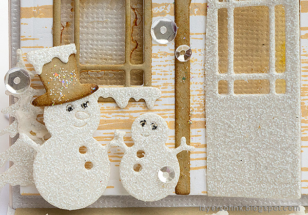 Layers of ink - Winter House Easel Card Tutorial by Anna-Karin Evaldsson. Glittery snowmen.