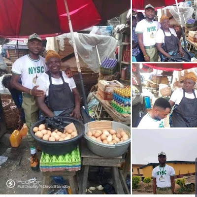 LOVELY!!! Corper Shows Off Mother Who Sells Egg To Educated Him\