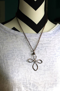 Antiqued copper cross necklace wire we here jewelry post full image aloadofball Choice Image