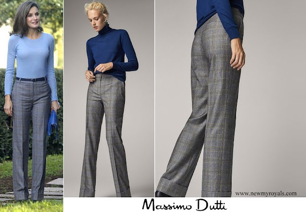 Queen Letizia wore Massimo Dutti large plaid prince of wales trousers