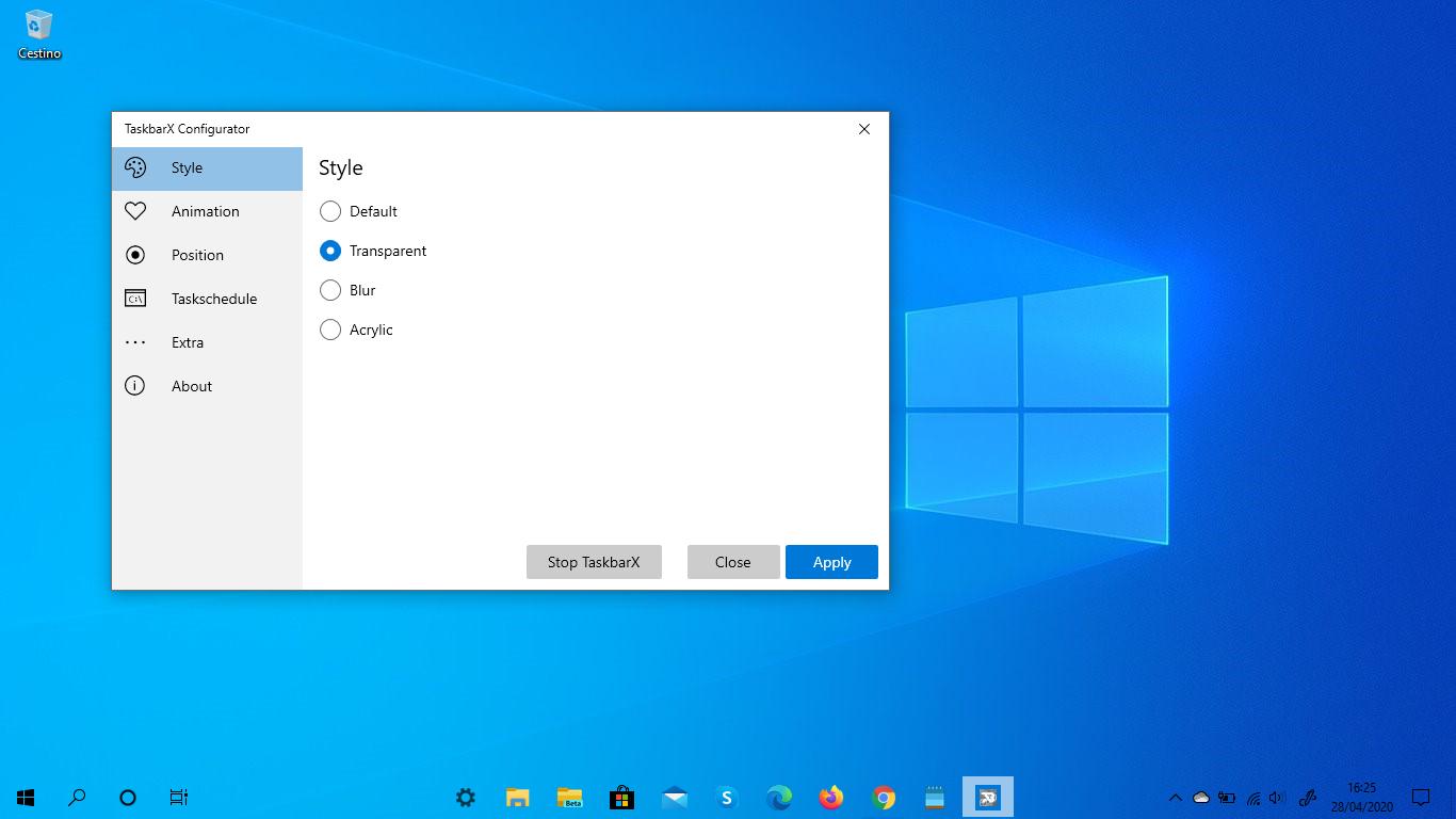 Download TaskbarX, massima personalizzazione Barra applicazioni Windows 10