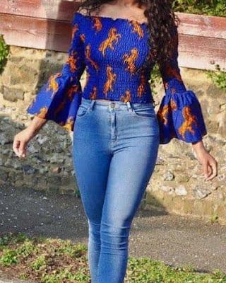 Latest Ankara Tops On Jeans 2019