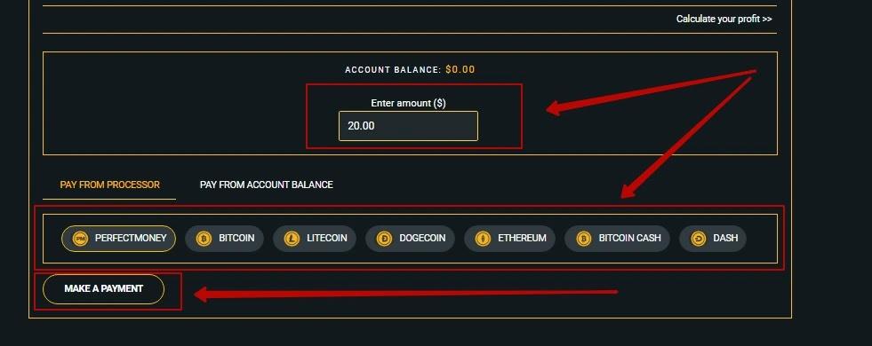 Пополнение баланса в Bitgola 3