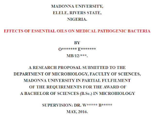 A RESEARCH PROPOSAL ON EFFECTS OF ESSENTIAL OILS ON MEDICAL PATHOGENIC BACTERIA