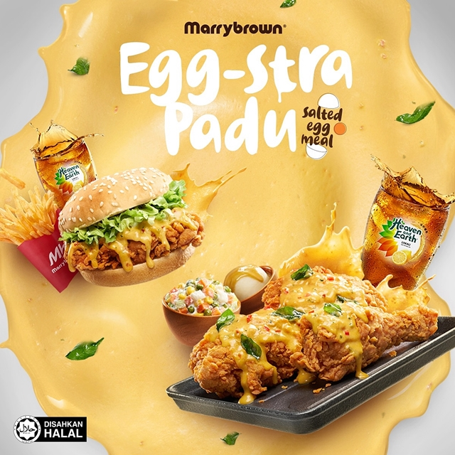 Egg-stra Padu, Salted Egg Burger, Salted Egg Ayam, Salted Egg Meals, Salted Egg, Marrybrown, Food