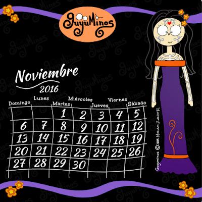 Calendario Noviembre 2016. Guyuminos © Catrina