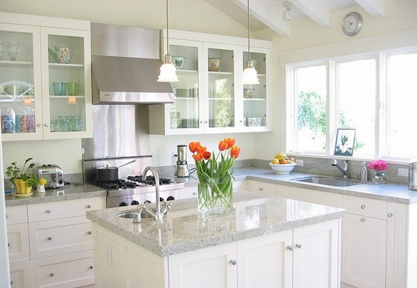 White Pearl Granite Kitchen Countertop Ideas