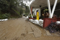 Flooded driveway (Credit: AP Photo/Damian Dovargane) Click to Enlarge.