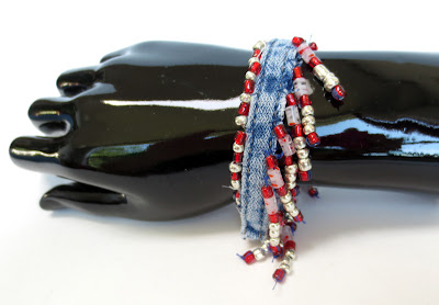 bracelet made from blue jean inseams