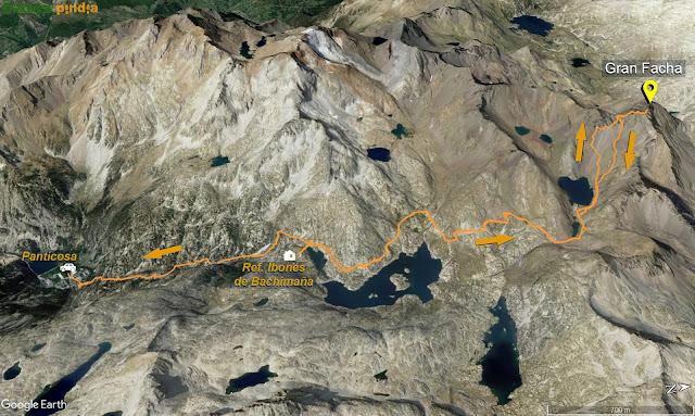 Mapa de la ruta señalizada desde el Refugio de los Ibones de Bachimaña hasta el Pico la Gran Facha.
