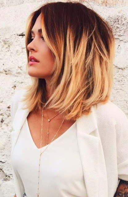 Medium Length Hairstyle and Haircuts For Women - Ombre Shoulder Length Hairstyle