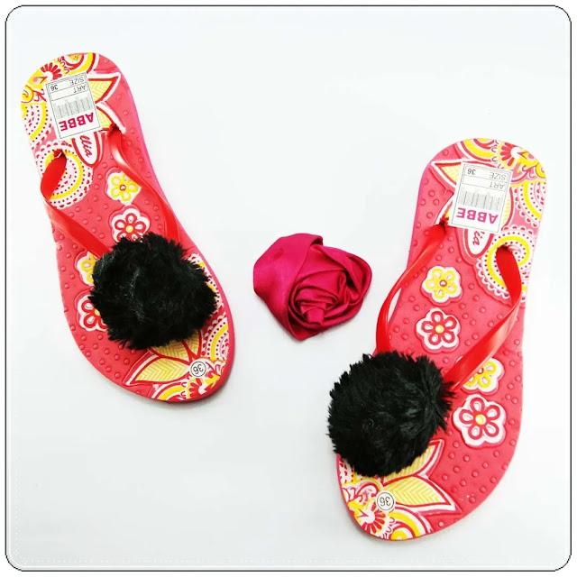 Jual Sandal Pompom Termurah - Sandal AB Sablon Bunga Pompom Wanita