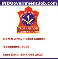 8000 Teacher Vacancies In Army Public School - Last Date: 20th Oct 2020
