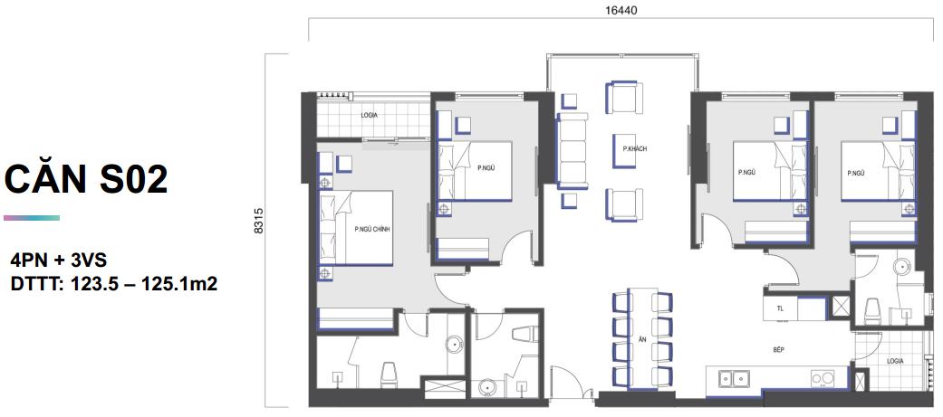 Mặt bằng căn hộ Mipec Rubik