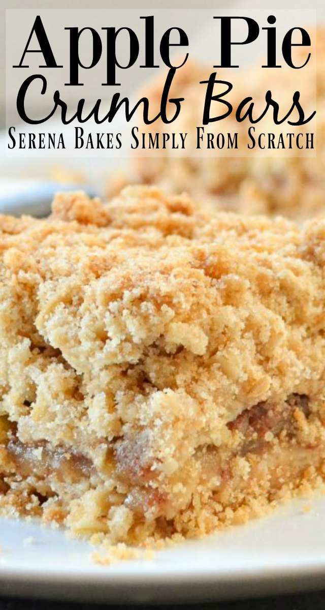 Apple Pie Crumb Bars recipes are an easy alternative to pie. Perfect for the Thanksgiving or Christmas dessert table from Serena Bakes Simply From Scratch.