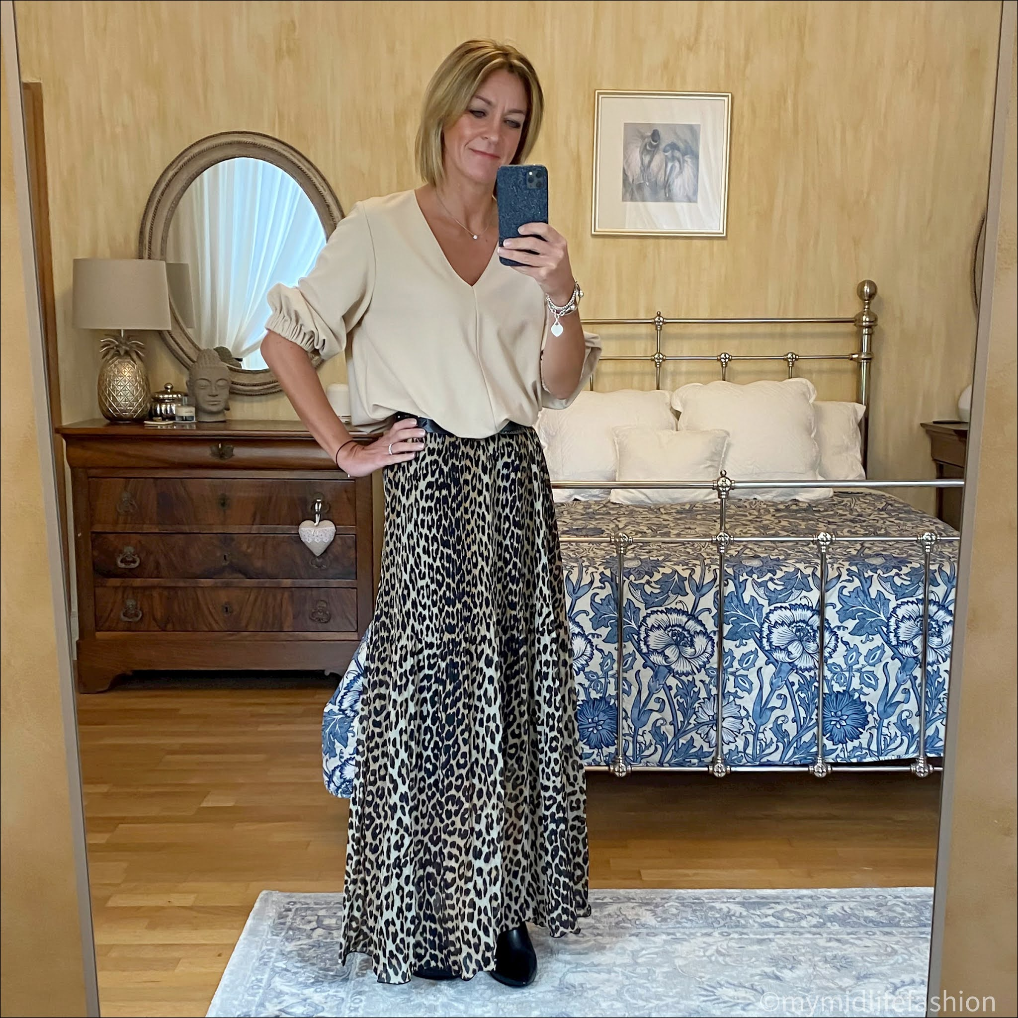 my midlife fashion, sole bliss Brooke ankle boots, Ganni pleated leopard print maxi skirt, tibi blouse