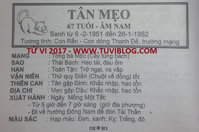 Tu vi 2017 Tan Mao 1951 nam mang